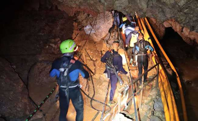 First two Thai schoolboys rescued from flooded cave