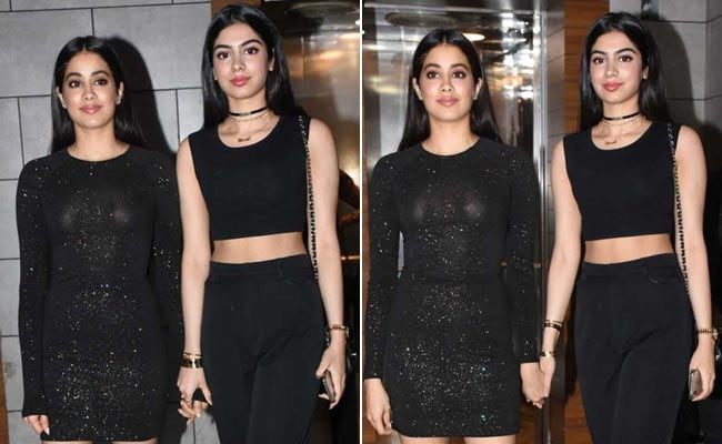 Kapoor Sisters Janhvi And Khushi Are Anything But Basic In Black At <i>Dhadak</i> Party