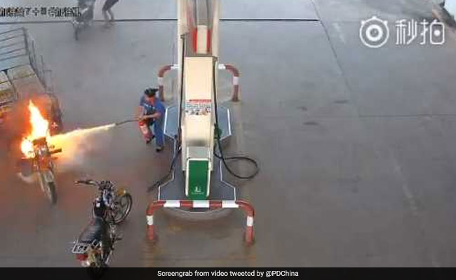 His Three Wheeler Caught Fire At A Petrol Pump  Watch What Happens Next