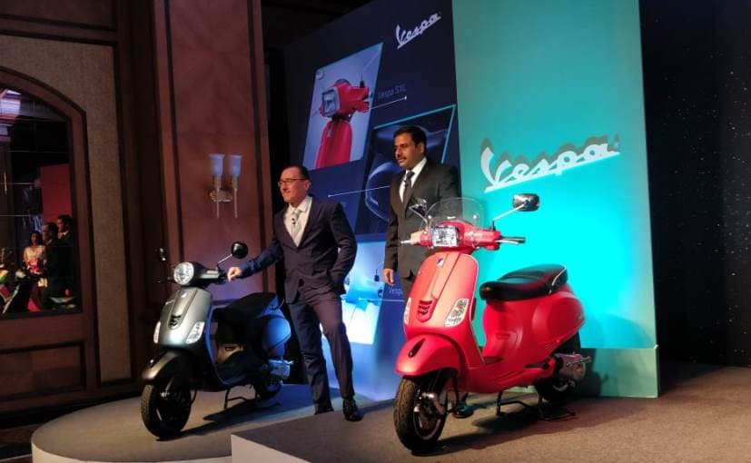 Piaggio India MD, CEO Diego Graffi and Ashish Yakhmi, Head of 2-wheeler business launch the new Vespas