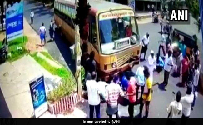 Caught On Camera: 3 Men Miraculously Survive After Bike Collides With Bus