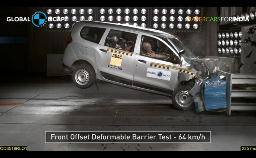 The Renault Lodgy was crash tested by the Global NCAP as part of its 'Safer Cars For India Campaign'
