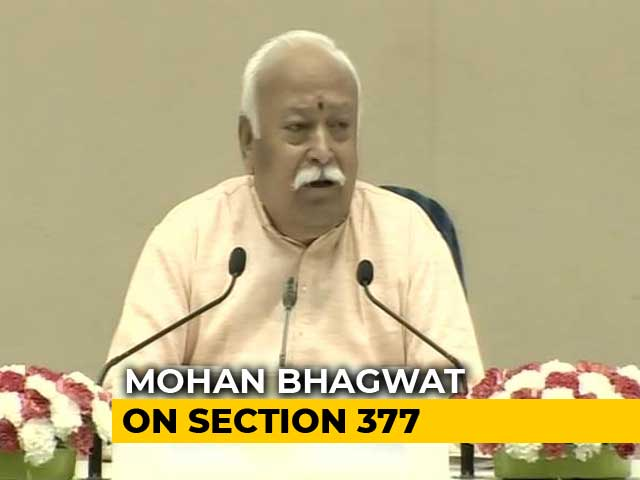 "Video : ""LGBTQ Community Part Of Society"": Mohan Bhagwat Keeps Up With Times"