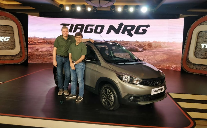 Gunter Butschek and Mayank Pareek with the newly launched Tata Tiago NRG