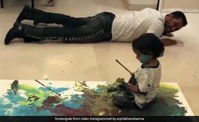 जमीन पर लेटे सलमान खान, रंगों से मामा-भांजे ने खेला ऐसा खेल कि हो गया चमत्कार...