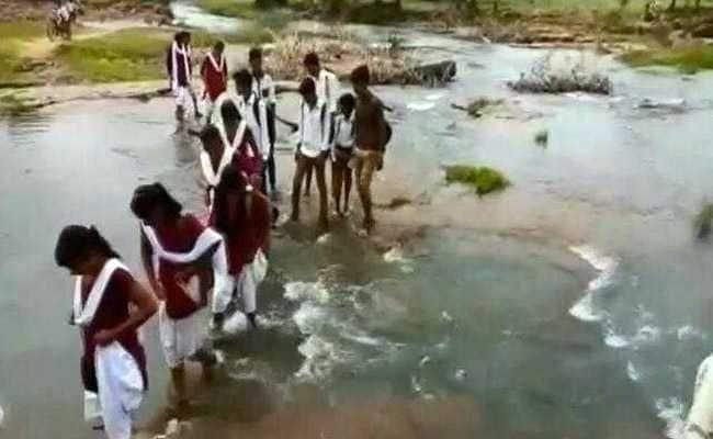 Children In Madhya Pradesh Forced To Cross Stream To Reach School. Watch