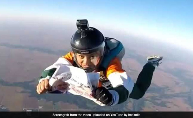 Skydiver's Birthday Wish To PM Modi From 13,000 Feet Above