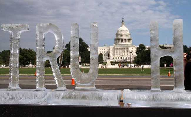 Melting 'Truth' Ice Sculpture Protests 'Fake News' At US Capitol Building