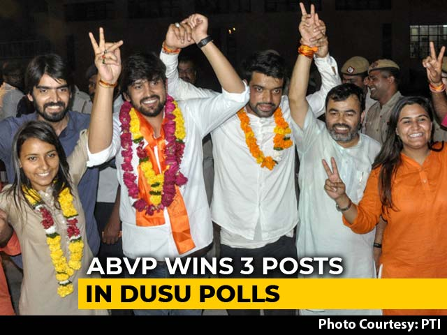 Video : Delhi University Polls: ABVP Wins Top Post, 2 More, NSUI Gets 1