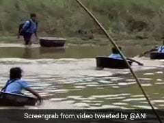 Watch: Kids Cross River In Aluminium Pots To Reach School In Assam