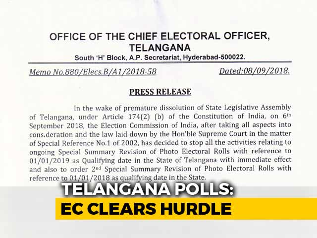 Video : Telangana Election Body Says Revised Voter List To Be Ready By October