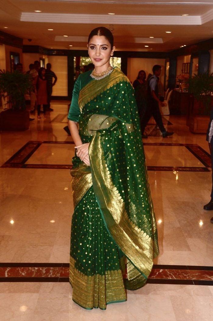 Anushka Sharma Steals The Attention In A Benarasi Saree
