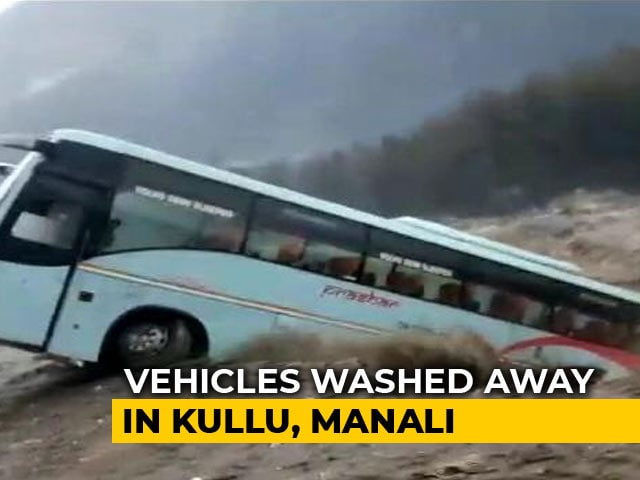 Video : On Camera, Luxury Tourist Bus Washed Away By Flooded River Near Manali