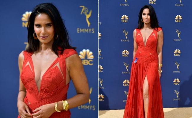 c140347871b Padma Lakshmi s Stunning Emmy Dress Was A Repeat. She Explains Why