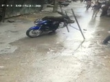Video : In Chilling CCTV Footage, Iron Frame Falls On Biker's Head In Bengaluru