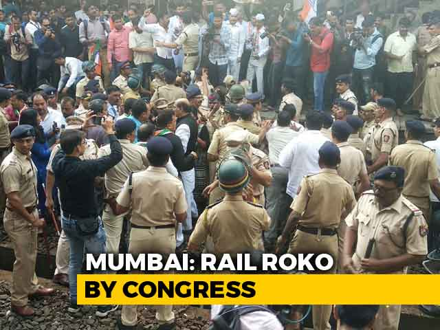 Video : Bharat Bandh: Congress Workers Protest In Maharashtra, Block Rail Traffic
