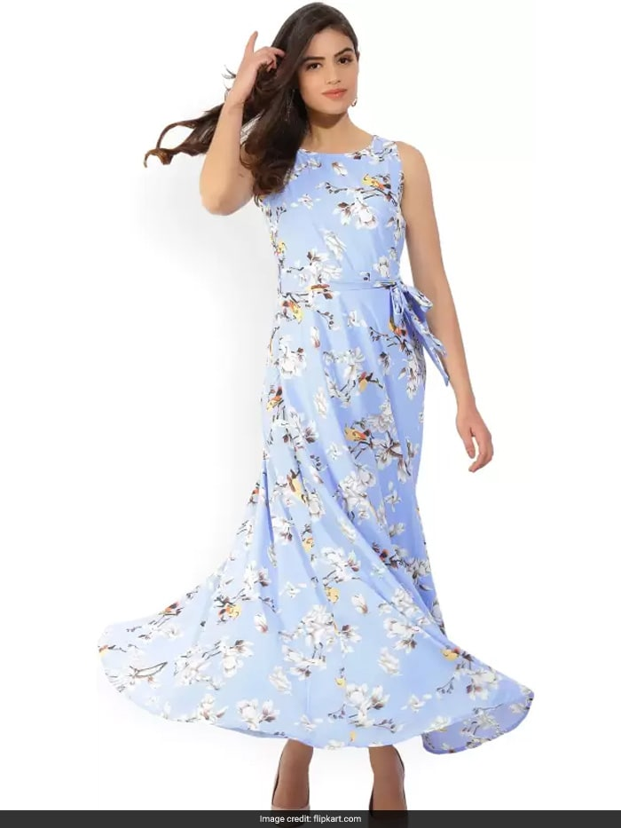 9b8d933b02 This powder blue maxi dress with its floral and bird print from Tokyo  Talkies on Flipkart is super elegant, chic and trendy. It is priced at Rs  1,049.