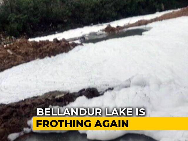 Video : In Bengaluru, 10-Foot-High Froth At Bellandur Lake After All-Nighter Rain