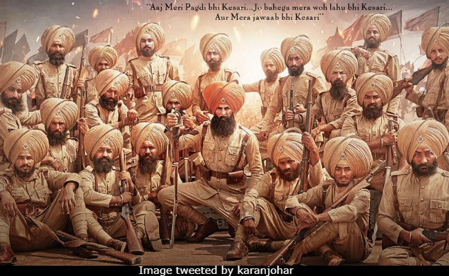 Kesari First Look Is Akshay Kumar's Tribute To Battle Of Saragarhi 'Heroes'