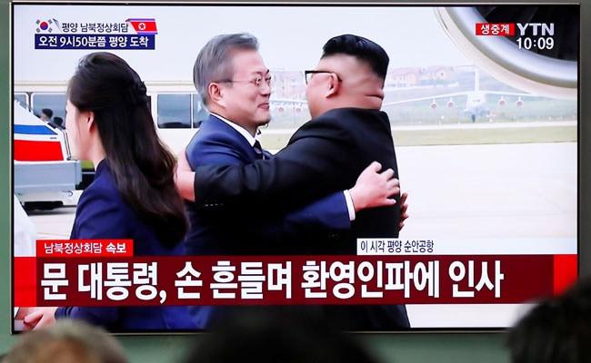 Leaders Of Both Koreas Meet, Embrace Ahead Of Denuclearisation Talks