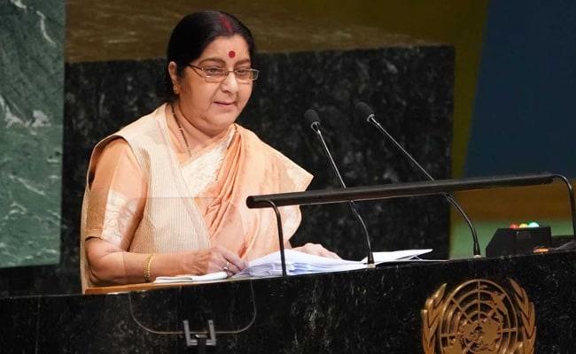 UN में बोलीं सुषमा स्वराज, 'पाकिस्तान हत्यारों का महिमामंडन करता है और उसे निर्दोषों का खून नहीं दिखता'