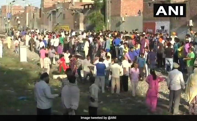 Residents Stage Protest At Amritsar Train Accident Site