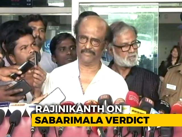 "Video : Rajinikanth Supports Sabarimala Verdict, But Says ""Traditions Must Be Respected"""