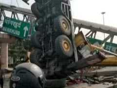 Part Of Foot Overbridge Collapses In Mumbai Due To Crane Tipping Over