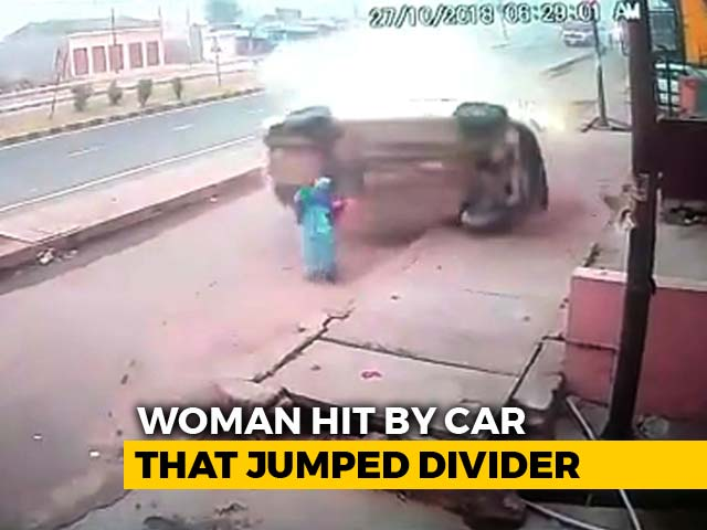 Video : Car Flips Several Times Before Hitting Woman In UP As Driver Falls Asleep