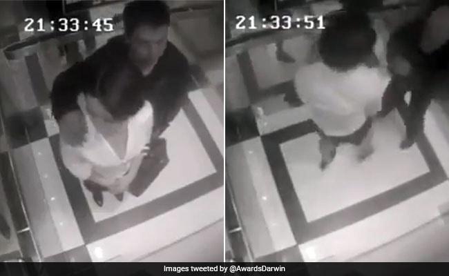 महिला को जबरन छूने की कोशिश कर रहा था लड़का, लिफ्ट में लिया ऐसा बदला, देखें VIDEO