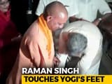 Video : When Raman Singh Touched The Feet Of Yogi Adityanath, 20 Years His Junior