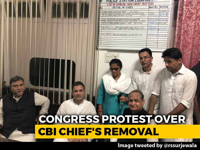 """Video : Rahul Gandhi Protest Against CBI Move Includes """"Sit-In"""" At Police Station"""