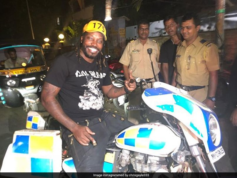 Chris Gayle Rides A Police Motorbike In Mumbai, Says He Loves India