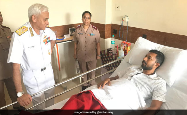 Navy Chief Admiral Sunil Lanba Meets Sailor Abhilash Tomy After Surgery