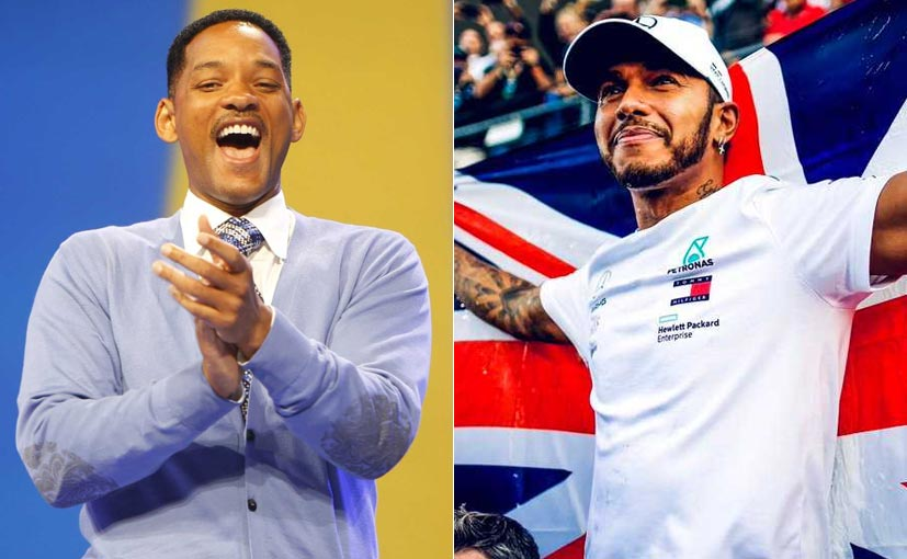 Will Smith's pre-recorded message was played on the radio after Hamilton crossed the finish line