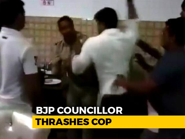 "Video : BJP Leader Thrashes ""Drunk"" Cop At His Restaurant In UP, Arrested"