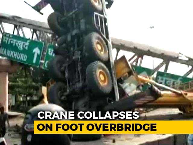 Video : Part Of Foot Overbridge Collapses In Mumbai Due To Crane Tipping Over