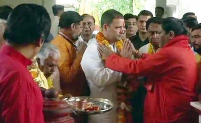 मध्य प्रदेश के चुनावी दौरे पर कांग्रेस अध्यक्ष राहुल गांधी, किए मां पीतांबरा देवी के दर्शन