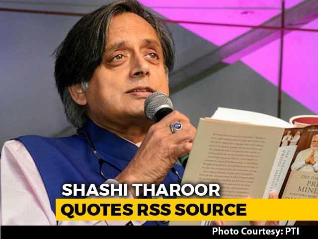 """Video : RSS Man Called PM Modi """"Scorpion On Shivling"""": Shashi Tharoor"""