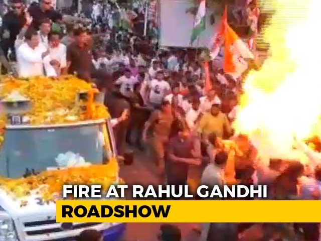 Video : Scary Fire Incident At Rahul Gandhi's Madhya Pradesh Rally