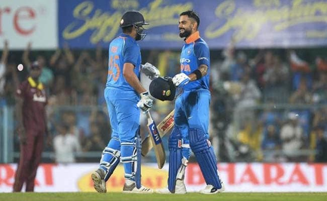 1st ODI: India 326/2 in 42.1 overs (Rohit 152*, Kohli 140) beat Windies (322/8) by 8 wickets in Guwahati