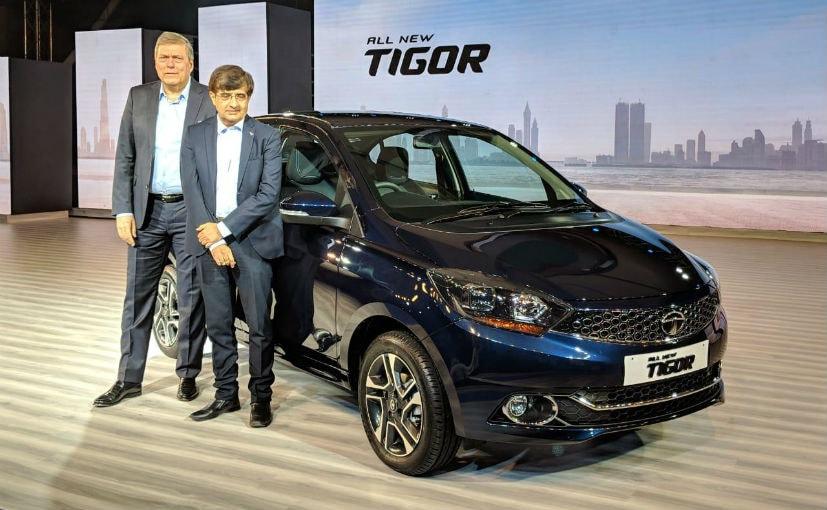 Tata Motors bosses Guenter Butschek and Mayank Pareek with the new Tigor