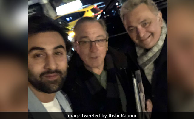 Rishi Kapoor and Ranbir Kapoor meet Robert De Niro in NYC