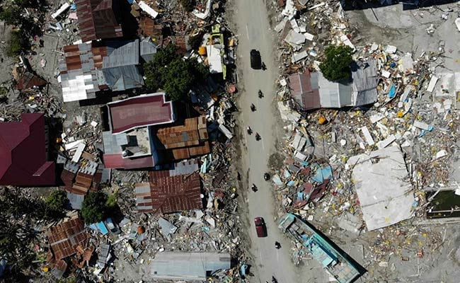 Indonesia tsunami wreckage filmed from above