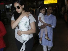 Mira Rajput Flies Out Of Mumbai with Children Misha And Zain. See Pics At Airport