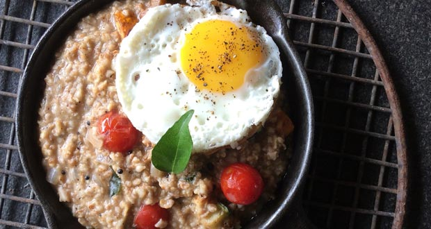 Oat Meal Porridge with Fried Egg