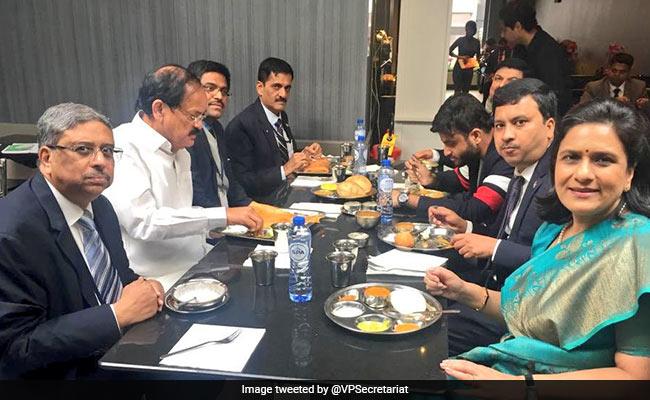 Venkaiah Naidu Tucks Into A Crispy Dosa At Saravana Bhavan In Belgium