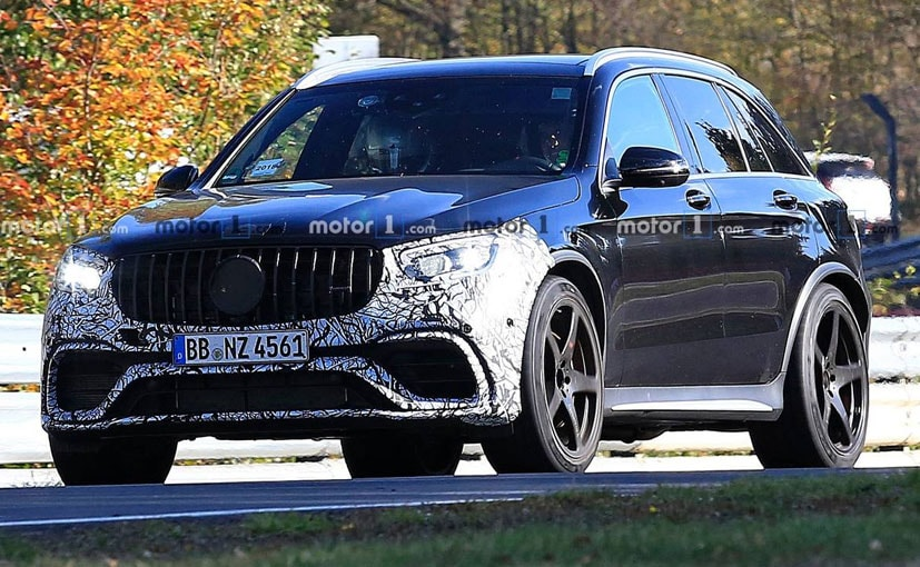 The front bumper and overhang of the GLC 63 were camouflaged.