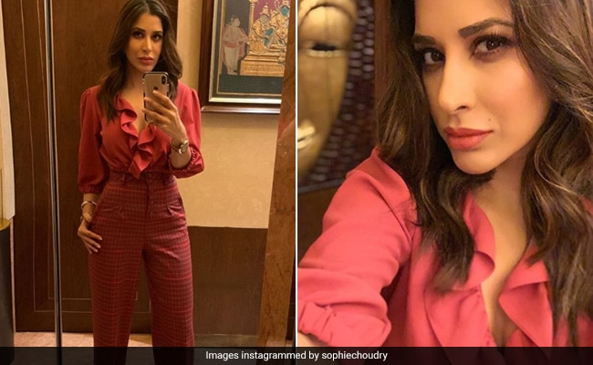 Get The Look: Sophie Choudry's Fiery Red Outfit