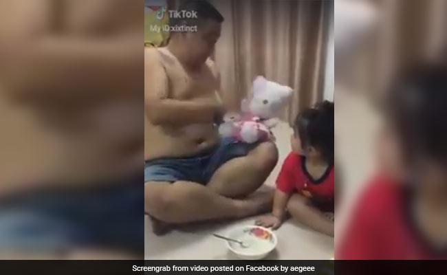 पिता ने अनोखे अंदाज में खिलाया बेटी को खाना, VIDEO देखकर आप भी हंस पड़ेंगे